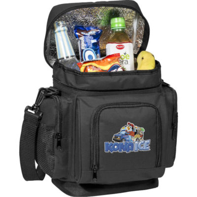 The Clifton Cooler has a main zippered compartment with aluminium foil lining, a front zip pocket, dual side zip pockets with mesh slip section and a adjustable, removable shoulder strap.