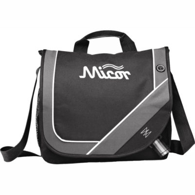 The black Cadence Messenger Bag has an adjustable shoulder strap, carry handle, a mesh side pocket, a earbud outlet and a main open compartment under a flap.