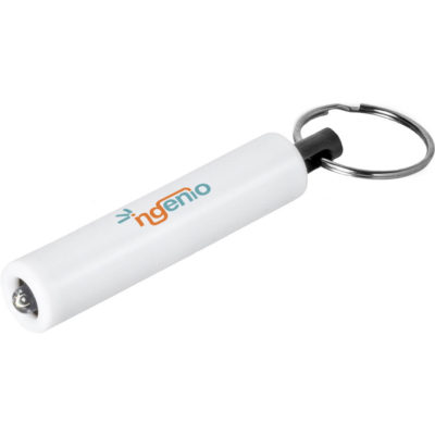 The Tubular Torch Keyholder is a white ABS plastic torch on a metal keyring loop. Includes 3 x LR41/AG3 button cell batteries