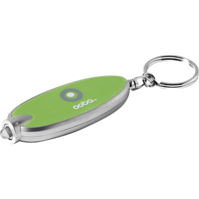 The lime green Lucent Torch Keyholder is made from ABS and has a white LED light and 2 X CR1220 button cell batteries.
