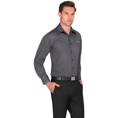 The Mens Long Sleeve Metro Shirt is made from 65% polyester, 35% cotton with a plain placket and a curved hemline.