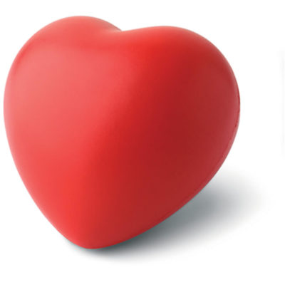 The Heart Stress Ball Is a red PU heart shaped stress ball with a soft and spongy feel