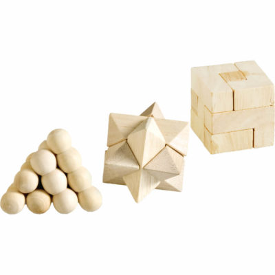 The Confounded Puzzle Set contains three wooden brain teaser puzzles, packed inside a wooden slid open box.