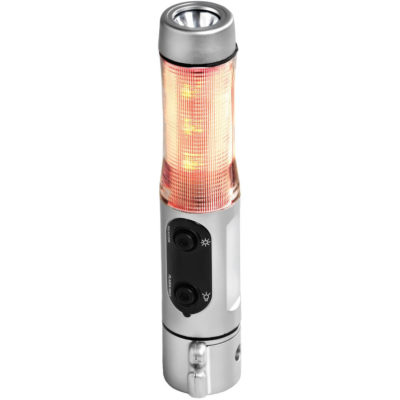 The 911 Emergency Light is made from ABS plastic and LED lights. The light has a safety belt cutter, a break glass safely hammer and magnets on the base of the tool. 2 x AA batteries are included.