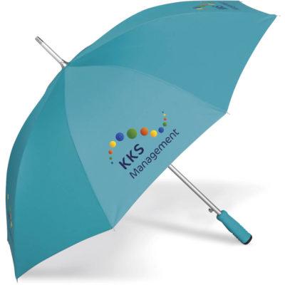 The Cloudburst Umbrella is a turquoise 190T pongee fabric 8 panel umbrella with an aluminium shaft and colour co-ordinated EVA foam handle