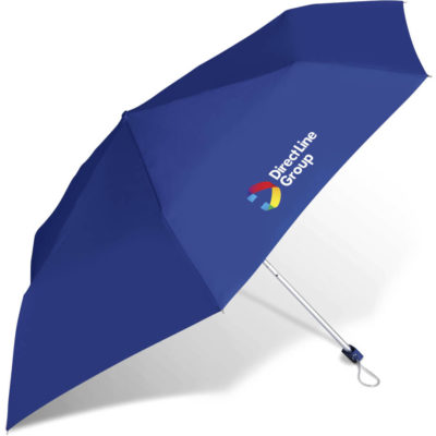 The Rainbow Compact Umbrella Branding Guideline is a blue 190T pongee umbrella with 6 panels, and aluminum shaft and a matching colour PP handle and carry pouch