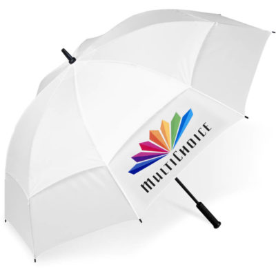 the Torrent Golf Umbrella is a white 190T nylon umbrella with 8 panels, a vented canopy for wind resistance, a fibreglass shaft for durability and includes a matching colour 190T nylon carry pouch with strap