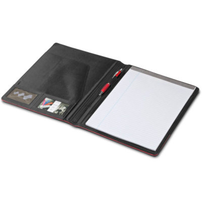 The Stripez A4 Folder with black and a colour simulated cover, business card holder, ID holder, pen loop and writing pad.