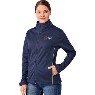 The Ladies Cromwell Softshell Jacket is made from 280 g/m2, 100% polyester interlock fabric bonded with 100% polyester mesh. With adjustable closure at cuffs, two hand pockets with zips, two interior pockets, elastic cords with stoppers in back of collar and bottom hem, reflective piping on the back and a US Basic branded zip puller