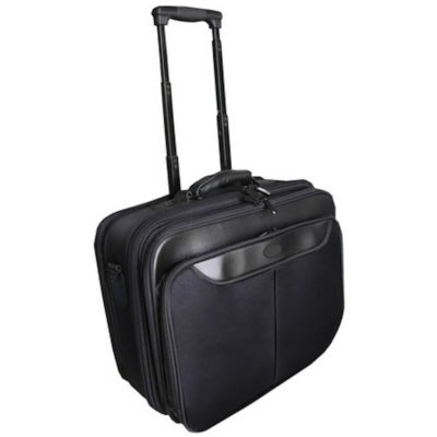 The Trolley Laptop Bag Is Made From 1680D. The Bag Has A Laptop Compartment, 3 Zip Compartments And An Extendable Handle With Wheels.