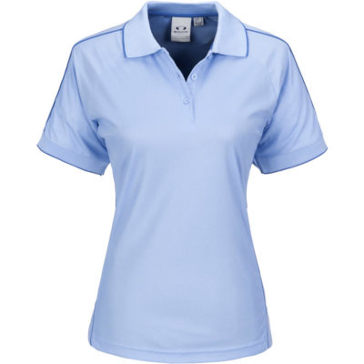 The light blue Resort Ladies Golf Shirt is made from 100% polyester. The shirt includes a flat knit rib collar, tipping at collar & cuffs, three button placket and tone on tone buttons with raglan sleeves.