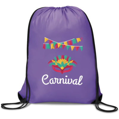 The Symphony Drawstring Bag in the colour purple is made from 210D material with one main compartment. Available in a range of bright colours to choose from.
