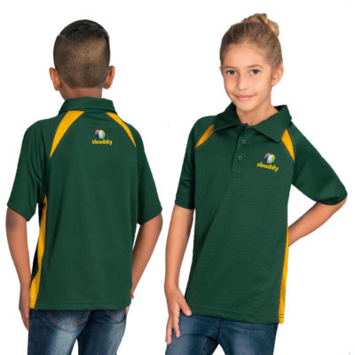The Kids Splice Golf Shirt made from 100% polyester mesh knit, with many colours and sizes to choose from.