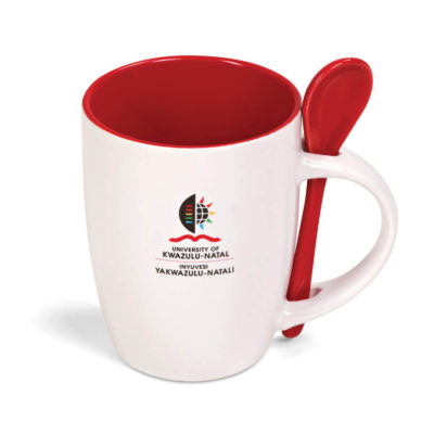 The Scoop Mug in the colour red has a matching spoon and comes in a matching colour gift box.