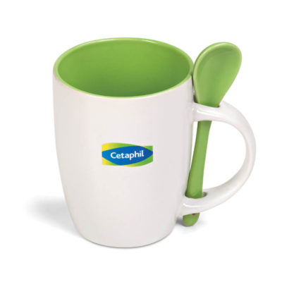 The Scoop Mug in the colour lime has a matching spoon and comes in a matching colour gift box.
