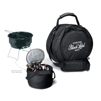 The Outback BBQ And Cooler in the colour black and has an adjustable shoulder strap.