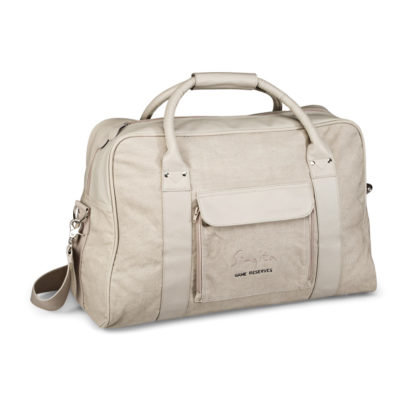 The khaki Cutter & Buck Weekend Bag in beige features a front pocket, a back zippered pocket, simulated leather grip and an adjustable removable shoulder strap.