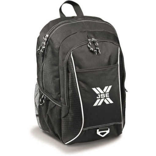 The black Apex Laptop Backpack features a front zippered media pocket, side mesh pockets and a top grab handle.