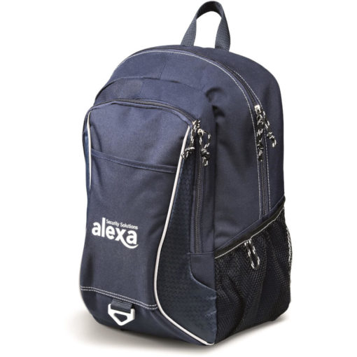 The navy Apex Laptop Backpack features a front zippered media pocket, side mesh pockets and a top grab handle.