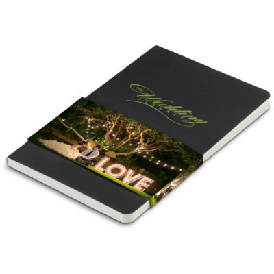 The Jotter A6 Notebook is a black leatherette cover notebook with 96 lined pages and a belly band for additional branding