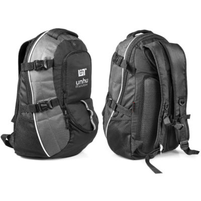 The gun metal Burbank Laptop Backpack features a front zippered compartment, a side mesh bottle pocket, earphone outlet, padded backing for extra comfort, an adjustable side straps, and padded adjustable shoulder straps.