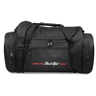 The black Bridgeport Sports Bag features a zippered pocket, a side zippered compartment and an adjustable removable shoulder strap.