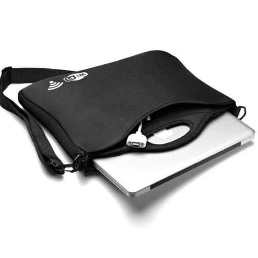 The Supernova Laptop Sleeve features a front slip pocket, adjustable/removable shoulder strap.