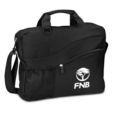 The Black Vegas Conference Bag Has A Side Zippered Pocket For Stationery, Side Mesh For Water Bottle Or Accessories With An Adjustable Shoulder Strap.