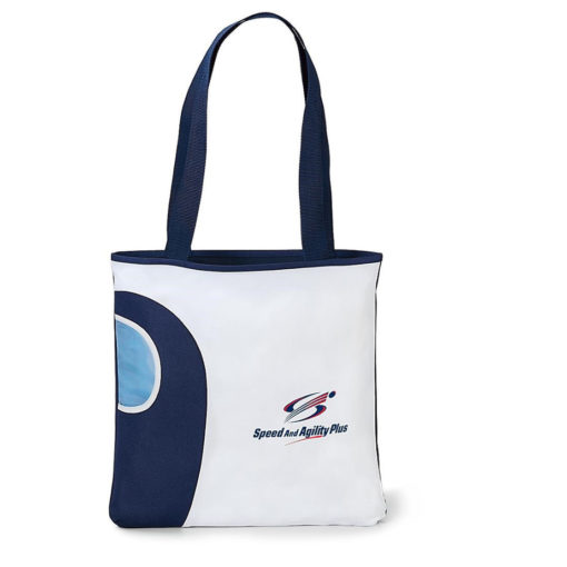 The Artesian Tote Bag in the colour navy features a front water bottle pocket with two long carry handles and a main open compartment.