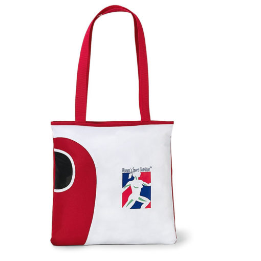 The Artesian Tote Bag in the colour red features a front water bottle pocket with two long carry handles and a main open compartment.