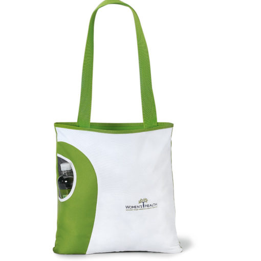 The Artesian Tote Bag in the colour lime features a front water bottle pocket with two long carry handles and a main open compartment.