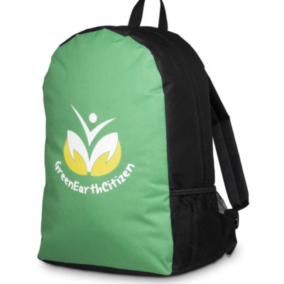 The green Quebec Backpack has a main zippered main compartment, small side mesh pocket, top grab handle and padded adjustable shoulder straps.