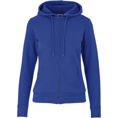 The Blue Basic Ladies Bravo Hooded Sweater Has Self-Fabric Neck Tape, Kangaroo Pocket And Self-Coloured Cord in The Hood.
