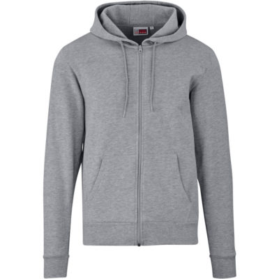 The Grey Basic Mens Bravo Hooded Sweater Has Self-Fabric Neck Tape, Kangaroo Pocket And Self-Coloured Cord in The Hood.
