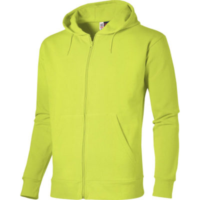 The Lime Green Basic Mens Bravo Hooded Sweater Has Self-Fabric Neck Tape, Kangaroo Pocket And Self-Coloured Cord in The Hood.