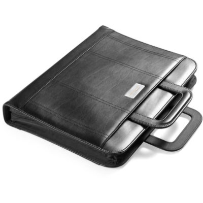 Obsidian Zip Around Drop Handle Folder closes up with two handles in rectangular shapes to have a secure grip. When open there is a writing pad on the right side, card holders and a pocket on the left.