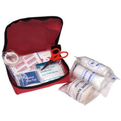 First Aid Kit Includes Bandages (x4 sizes), Gloves, Plasters, Alcohol Pads, Tape, Safety Pins And Scissors