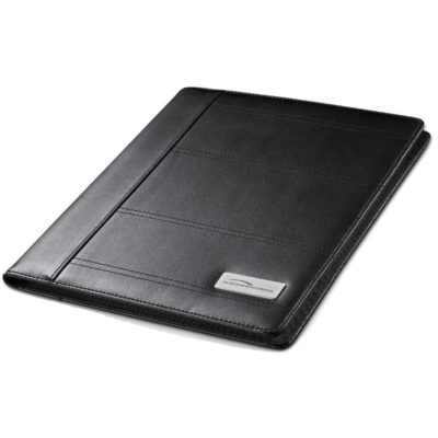 The Obsidian A4 Folder is made from simulated leather, a inner pocket for notes, card sleeves and it comes with a writing pad.