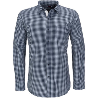 The navy Mens Long Sleeve Kenton Shirt has single button adjustable straps, single button sleeve plackets, tone-on-tone logo buttons, a left chest pocked, curved hemline and a white hem panel.