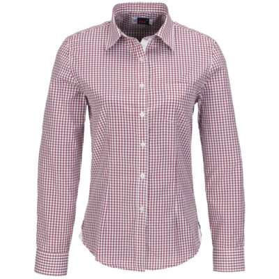 The red Ladies Long Sleeve Kenton Shirt is made from polyester and cotton yard dyed poplin and has two button cuffs with a white placket. Down the middle you see tone-on-tone buttons leading up to a collar that can be folded outwards. The shirt has side slits, a curved hemline and white hem panel detail.
