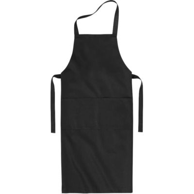 The Unisex Slater Apron in the colour black has 2 front pockets and tie backs.