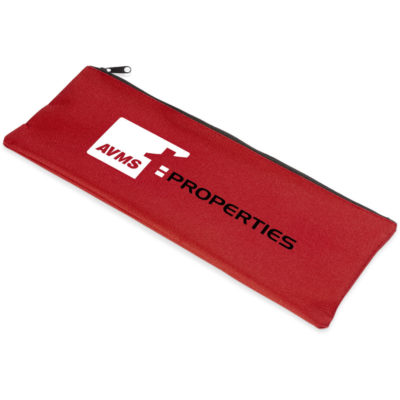 Red rectangular pencil bag made from 600D polyester with a black zip.