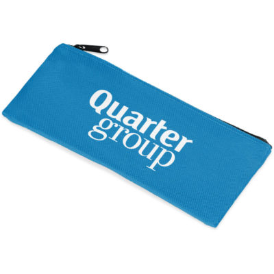 Cyan pencil case with zip and big enough area to store pens, pencils and other stationery items.