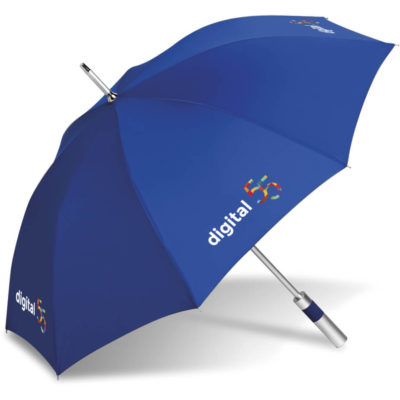 The Turnberry Golf Umbrella is a royal blue 8 panel polyester umbrella