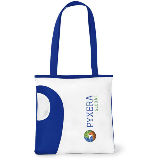 The Blue Tote Bag Features A Front Water Bottle Pocket.
