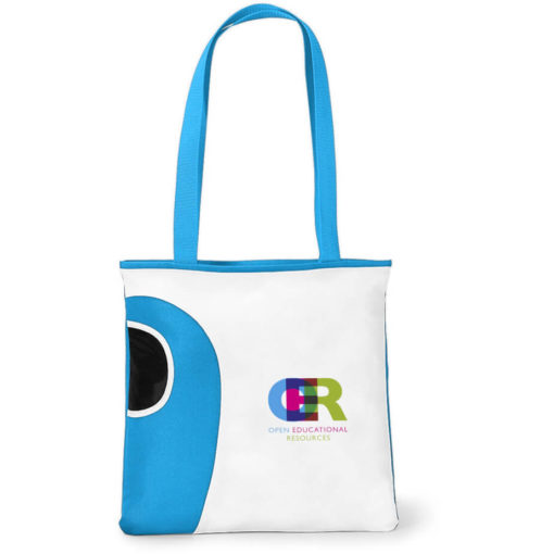 The Cyan Tote Bag Features A Front Water Bottle Pocket.