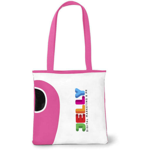 The Pink Tote Bag Features A Front Water Bottle Pocket.