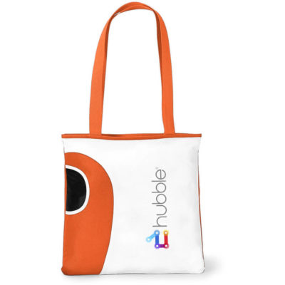 The Orange Tote Bag Features A Front Water Bottle Pocket.