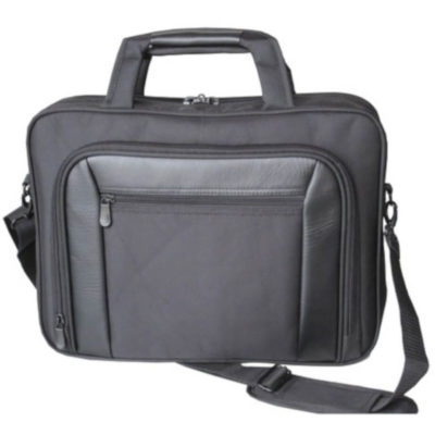 "The Laptop Bag is a black 600D fabric bag that holds 14"" laptops, with four storage compartments and a padded laptop compartment and organizer"