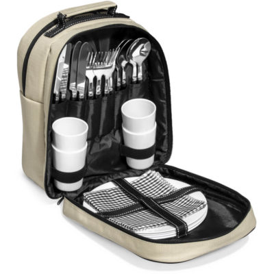 The Bastille Picnic Bag Has Adjustable Shoulder Straps , Includes 4 Melamine Plates, 4 Forks, 4 Knives, 4 Spoons , 4 Napkins And 4 Melamine Tumblers.
